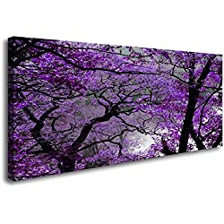 youkuart Canvas Prints Purple tree Framed Canvas Wall Art for Home Decor Perfect Wall Purple scenery Decorations For Living Room Bedroom Office Each Panel (Purple20inx40in)