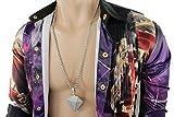 TFJ Men Fashion Necklace Long Metal Chains 3d Iced Out Big Diamond Pendant Hip Hop Charm Silver Color
