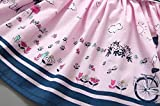 2-7T Striped Belt Skirt Girls Pink Sleeveless Party Princess Pageant Dresses
