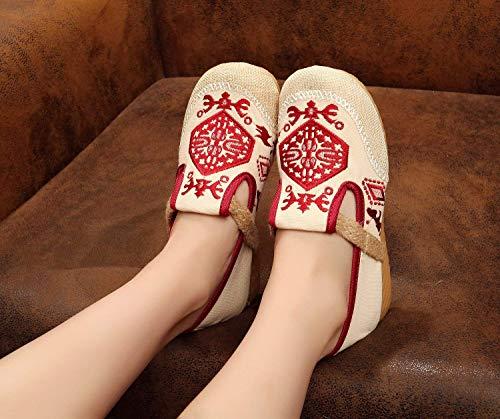 Fuxitoggo Tendon Au Féminin Taille Mode L'augmentation De Ethnique Semelle Chaussures Rouge Tissu Confortable Décontracté 40 Style coloré Sein En Brodées rwq7rxt8