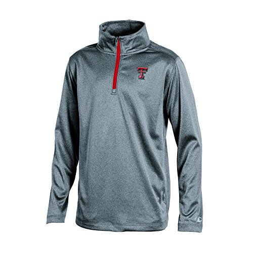 Champion NCAA Texas Tech Red Raiders Youth Boys Heather Double Knit Mesh Quarter Zip Jacket, Gray Heather, Large ()