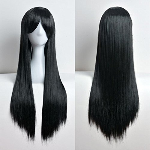 Mad Men Costume Diy (ABASSKY 80cm Full Wig Long Straight Wig Cosplay Party Costume Hair (Black))