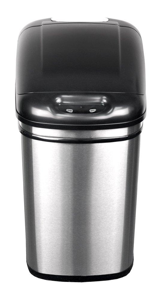 infrared trash can touchless automatic motion sensor lid kitchen waste basket. Black Bedroom Furniture Sets. Home Design Ideas