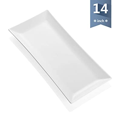 Sweese 3311 14-inch Porcelain Serving Platter/Rectangular Tray for party - White