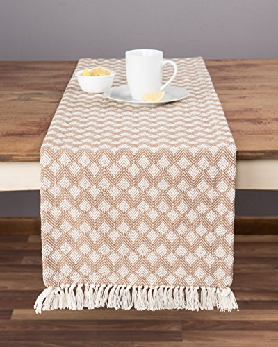 Woven Table Runner (Sticky Toffee Cotton Woven Table Runner with Fringe, Scalloped Diamond, Tan, 14 in x 72 in)