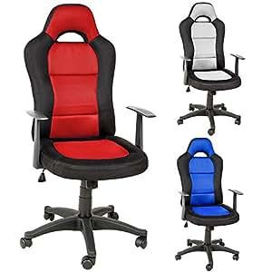 Tectake silla de oficina sillon de despacho estudio direccion giratoria racing rojo no - Sillas despacho amazon ...
