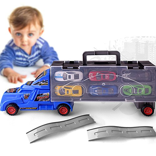 Gbell 1:18 Truck Toy with 12 Cars for 3-5 Year Old Boys,Portable Container Car Gift Kids Educational Toy,Random Color (Random) ()