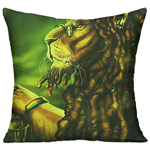 Large beach pants Multi-Sized Pillow Case Rasta Lion with Sun Glasses Dreadlocks Jamaica Cushion Cover Polyester Cover Zipper Pillowcase for Club Pub - 18