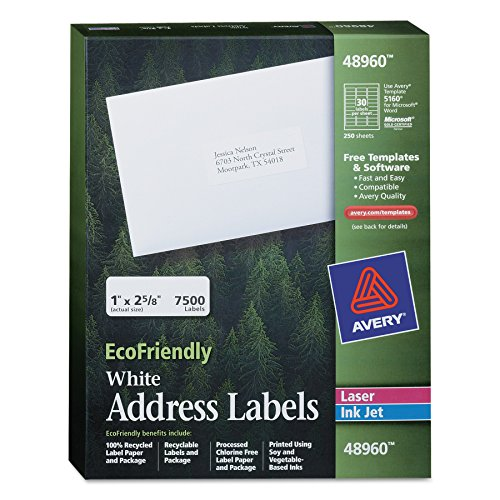 Avery White EcoFriendly Address Labels, 1 x 2.625 Inches, Box of 7500 (48960)