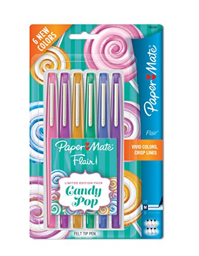 Paper Mate Flair Felt Tip Pens, Medium Point, Limited Edition Candy Pop Pack, 6 Count (1982365) (Paper Plastic Papermate)