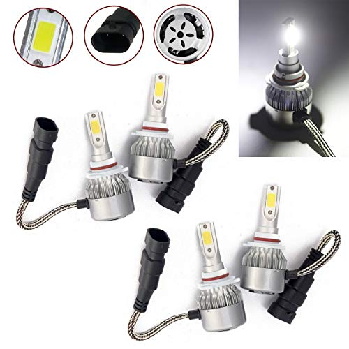 (CK Formula 9006 HB4 9005 HB3 C6 LED COB Chip All-In-One Auto Headlight Bulbs 7600 LM 72 Watt Kit 6000K Bright White Light (Low/High Beam) US Seller)