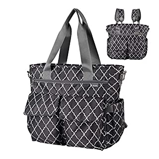 KUAK Diaper Bags, Multi-Function Waterproof Large Travel Baby Nappy Tote Bag with Bottle Thermal Bag/Coin Purse, 3 Detachable Straps for Backpack/Messenger Bag, 3 Inside Insulation Pockets