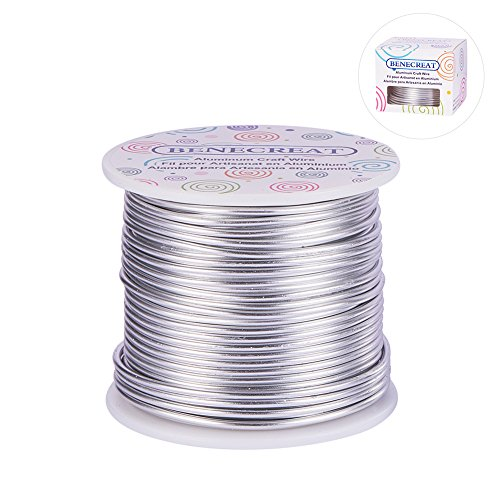 BENECREAT 12 17 18 Guage Aluminum Wire Anodized Jewelry Craft Making Beading Floral Colored Aluminum Craft Wire (12 Gauge,100FT,Silver)