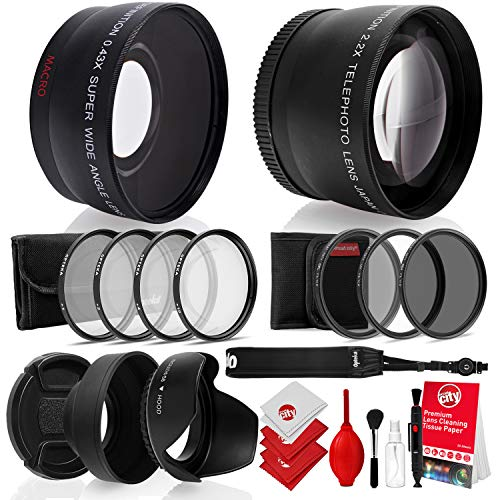 Opteka 52mm 0.43X HD Wide Angle Lens with Macro for Nikon DSLR Bundle with Opteka 52mm 2.2X HD Telephoto Lens and Essential Accessories (8 Items) (Telephoto Wide Angle Macro 10x Cpl Lens)