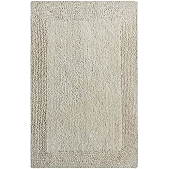 Chardin Home - 100% Pure Cotton - Splendor reversible Bath Rug, 21''x34'' highly absorbent & heavy duty bathroom mat,Ivory