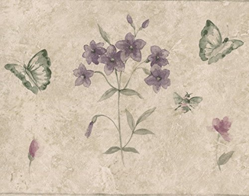 Pink Border Butterfly Wallpaper (Violet Pink Flowers Butterflies Beige Abstract Wallpaper Border Retro Design, Roll 15' x 7'')