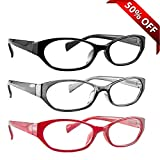 Reading Glasses 3 Pack with Red, Black & Grey _ Always have a Stylish Look & Crystal Clear Vision When You Need It! _ Comfort Spring Arms & Dura-Tight Screws _ 100% Guarantee +4.00