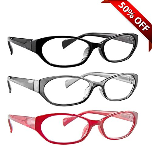 Reading Glasses 3 Pack with Red, Black & Grey _ Always have a Stylish Look & Crystal Clear Vision When You Need It! _ Comfort Spring Arms & Dura-Tight Screws _ 180 Day Guarantee +3.25