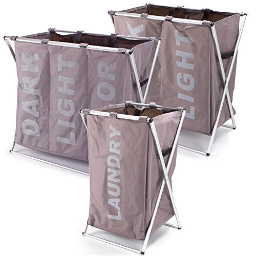 Wäschekorb Wäschesammler LAUNDRY DARK LIGHT COLOR Wäschesortierer Wäschesack Box (3 Fach)