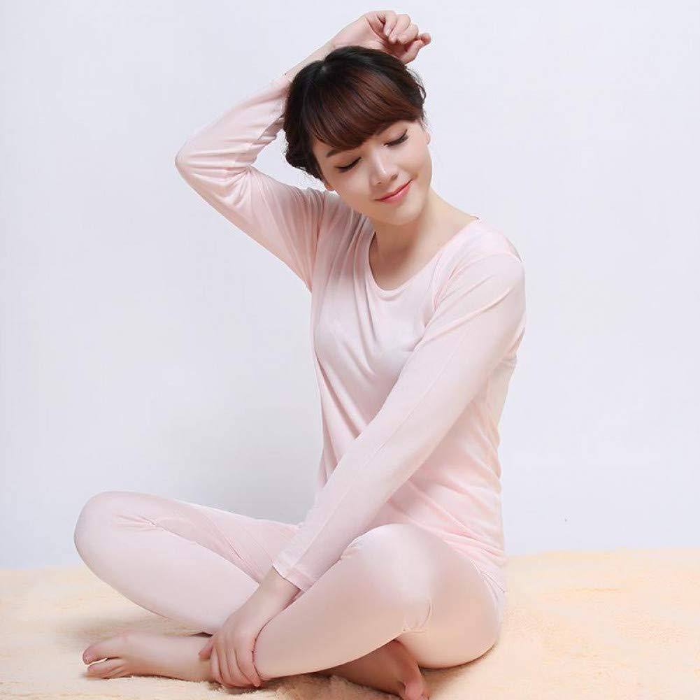 Duaini Lady Thermal Underwear Autumn Silk Thin Underwear Female Long