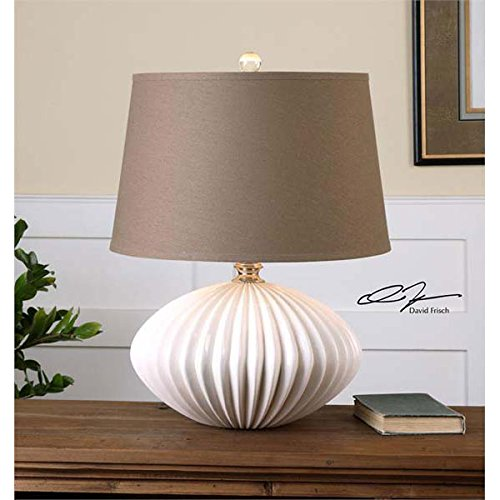 Modern Crackled White Glazed Ceramic Table Lamp by Zinc Decor