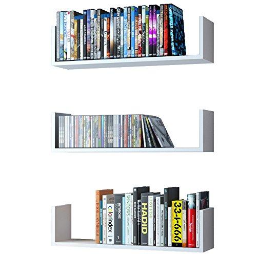 WALLNITURE U Shape Wall Mount Floating Wood Book Shelves Media Storage White Set of 3 U-shape Wood