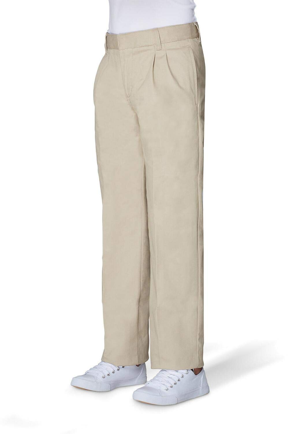 French Toast Boys' Big Relaxed Fit Pleated Pant, Khaki, 16