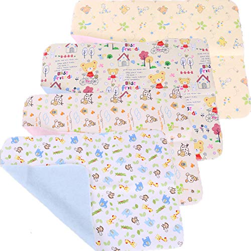 4pcs Pack Monvecle Baby Infant Cotton Waterproof Changing Pads Washable Resuable Diapers Liners Mats Small 18