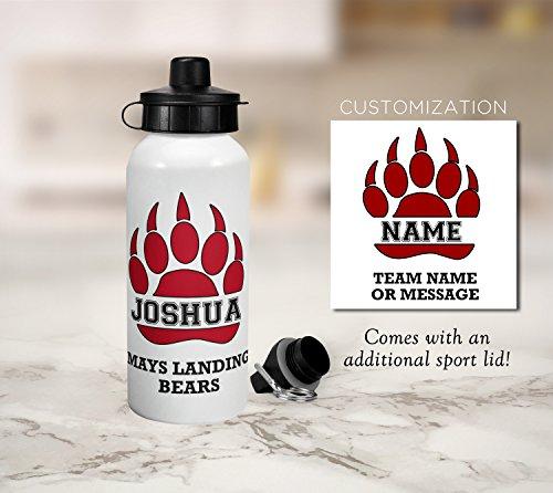 Bear Team Sports Water Bottle - Gift for Kids - Aluminum Water Bottle - School, Sports, Football, Soccer, Team Sport, Basketball, Karate, Hockey, Team Spirit, Kids Personalized Gift (Spirit Bottle Sport)