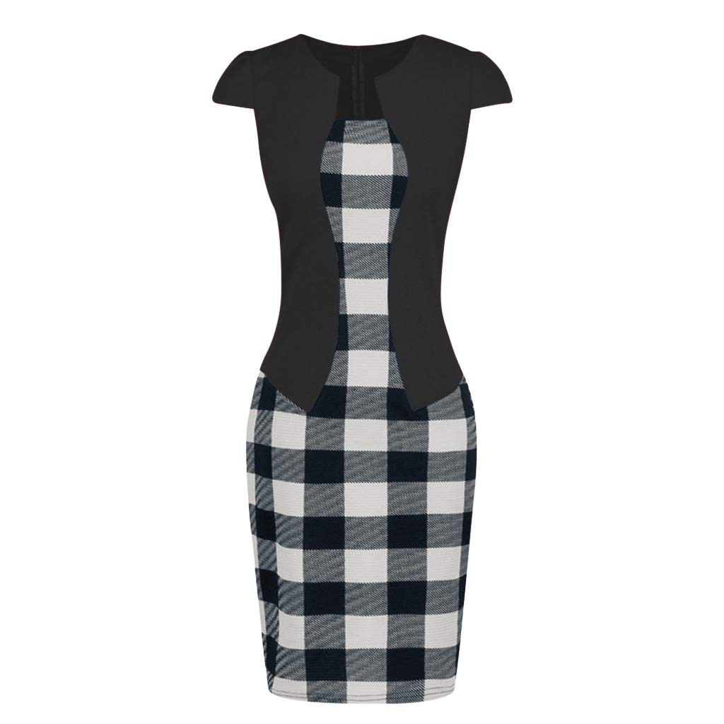 93 Shortsleeve,2XL /… Birdfly Office Womens Plaid Patchwork Pencil Skirts Formal Working Dress with Three Quarter Sleeve Plus Size 2L 3L Black