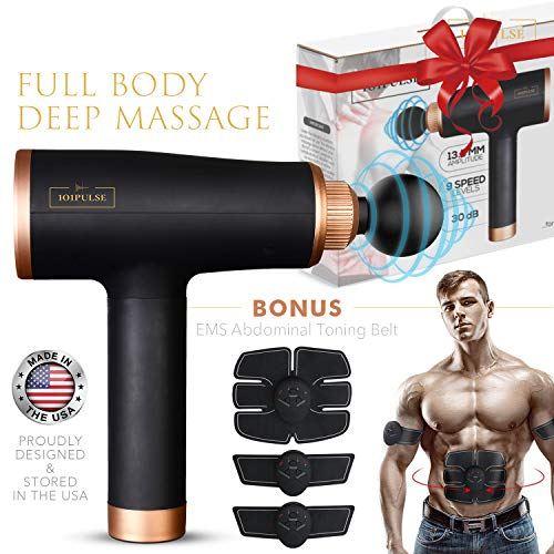 Massage Gun for Athletes, Deep Tissue Muscle Percussion Handheld Massager for Pain Relief, Recovery & Relaxation, Electric Cordless Body Sports Drill Portable Therapy Quietest Brushless Motor(Black)
