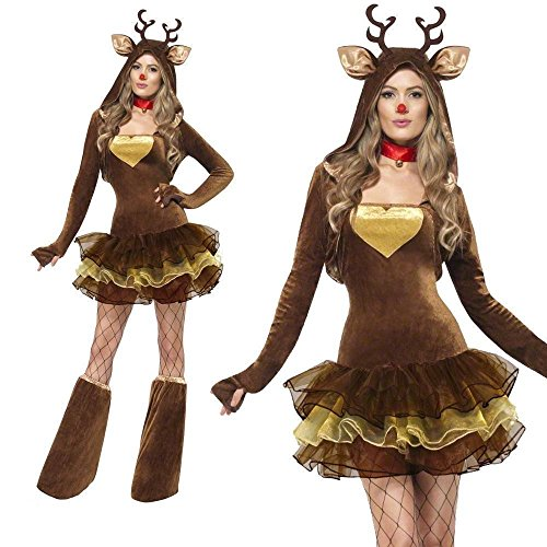 Women Sexy Adult Animal Reindeer Christmas Outfit Cosplay Fancy Dress Costume