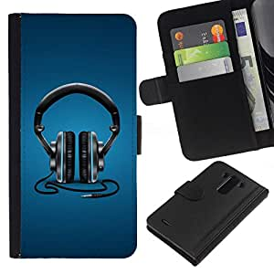 All Phone Most Case / Oferta Especial Cáscara Funda de cuero Monedero Cubierta de proteccion Caso / Wallet Case for LG G3 // Headphones Music Beat