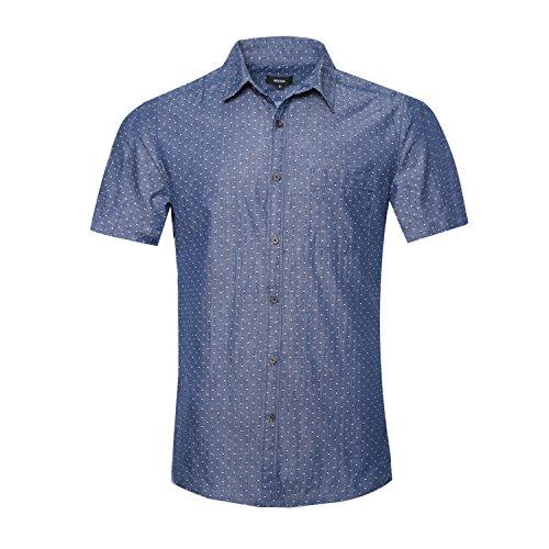 NUTEXROL Men's Premium Polka Dot Print Casual Shirt Short Sleeve Cotton Shirts Dark blue L
