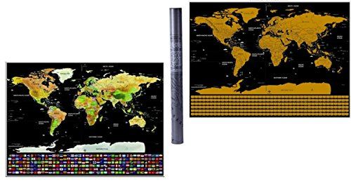Scratch Off Map Poster Creative Gift For Travelers Includes Country Flags For - Solstice Locations