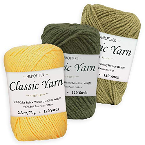 Cotton Yarn Assortment | Maize Yellow + Khaki Green + Olive | 2.5oz / Ball - 3 Solid Colors - Worsted/Medium Weight - for Knitting, Crochet, Needlework, Decor, Arts & Crafts Projects