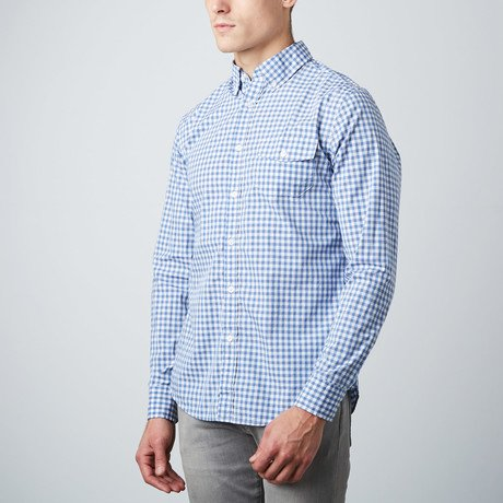 The Best Shirt Ever - Stainproof, Waterproof, Sweat-wicking Men's Button Down (Medium, Gingham Blue) by Clickbait Clothing (Image #3)