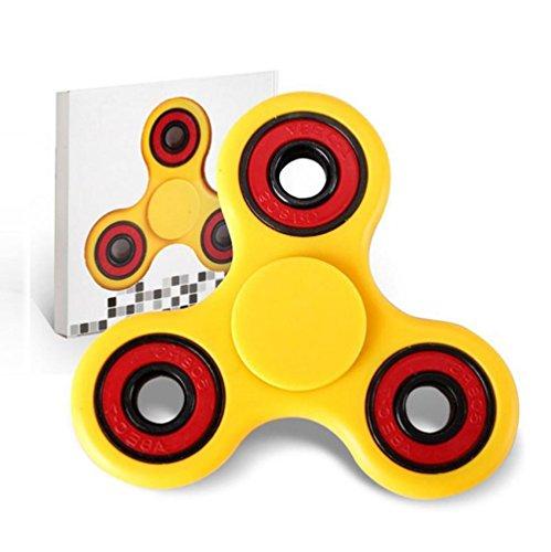 Luweki Hand Spinner Triangle Brass Finger Toy EDC Focus ADHD Autism Yellow (Glow In The Dark Toy Parachute)