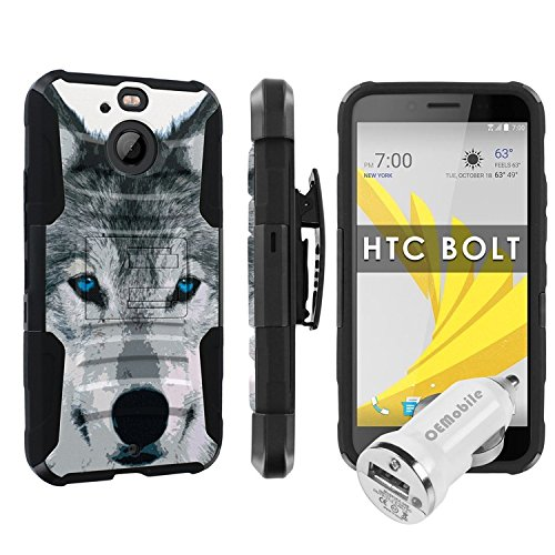 HTC BOLT / HTC 10 EVO [Skinguardz] [Black/Black] Tactical Phone Case [KickStand] [Holster] [Car Charger] - [Wolf] for HTC BOLT