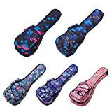 HOT SEAL 10MM Waterproof Durable Colorful Ukulele Case Bag with Storage (23/24in, Blue plaid)