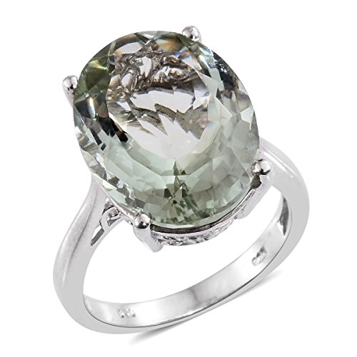 Green Amethyst Platinum Plated Silver Ring 13.6 cttw. Size 9 Green Amethyst Platinum Ring