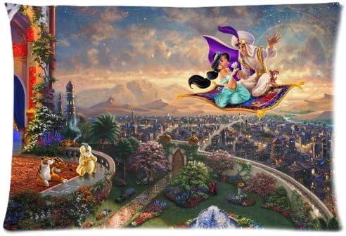Aladdin pattern Custom Rectángulo funda de almohada de algodón con cremallera fundas de almohada tamaño estándar 20 x 30 (doble lados): Amazon.es: Hogar