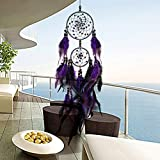 1 Pc/Set Indian Purple Feather Bead Dream Catcher Ornament Gifts Mini Arts Craft Rainbow Owl Feathers Hanging Bedding Room Distinguished Popular Dreamcatchers Girls Bedroom Car Wall Catchers Kit