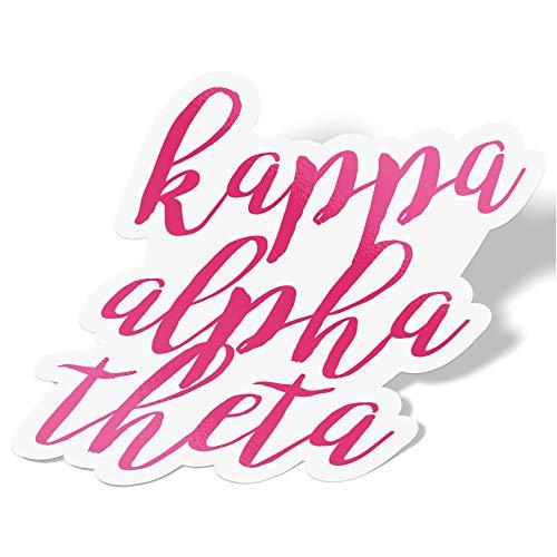 Desert Cactus Kappa Alpha Theta Cursive Word Sticker Decal Greek for Window Laptop Computer Car Theta (Pink)