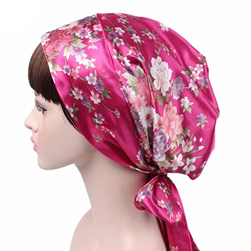 Price comparison product image MaxNova Satin Bow Headscarf Chemo Hat Cap Sleeping Hair Wrap Turban Cancer Headwear Rose
