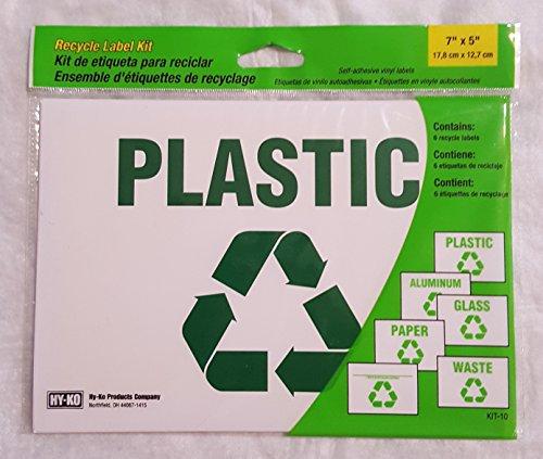"Recycle Label Kit 6pk Self Adhesive Vinyl Labels 7""x 5"" KIT-"
