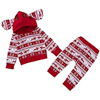 ELINKMALL Baby Reindeer Print Hoodies Long Sleeve Pant Christmas Pant Sets