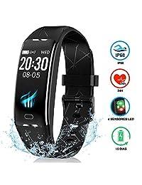 """ANNA TOSANI Pulsera Inteligente Bluetooth Smart Watch Impermeable IP68 Reloj Inteligente Deportivo con 0.96"""" IPS Dinámica de Color Pantalla Smartband Monitor de actividad Rastredor de Fitness para Mujer Hombre Compatible con IOS y Android"""
