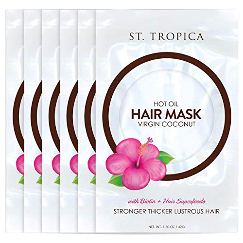 ST. TROPICA Coconut Oil Hair Mask (6 Hair Masks) #1 Ranked on Skin Deep, with Biotin + Hair Superfoods for STRONGER, THICKER, LUSTROUS Hair. Restorative Hair Mask, Deep Conditioner, Hot Oil Treatment