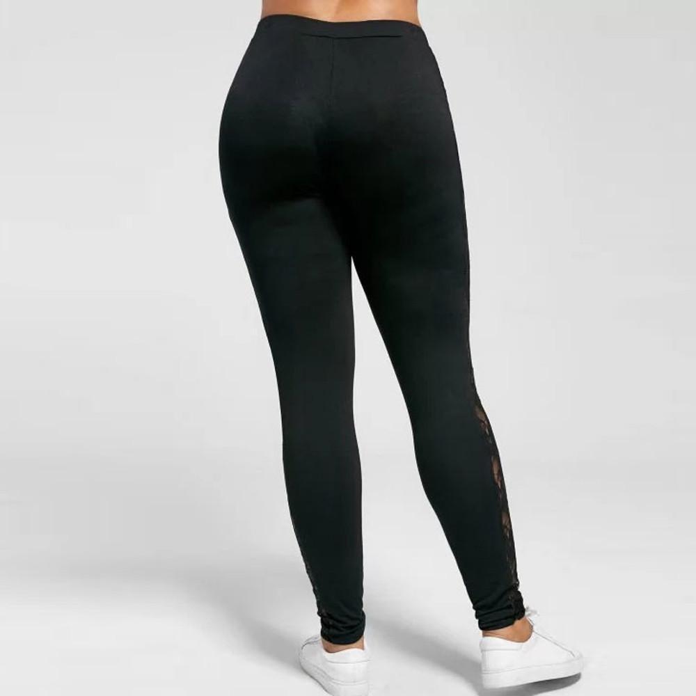 Sumen Women Plus Size Stretch Yoga Leggings Lace Floral Hollow Sport Pants